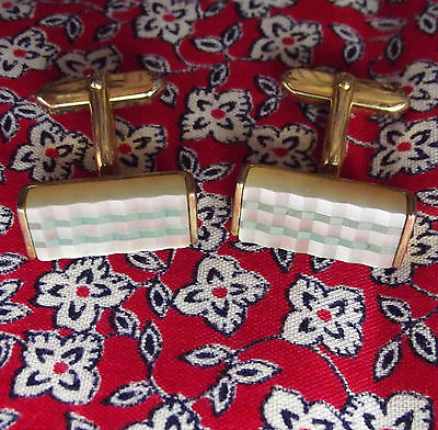 Chunky cufflinks Mother-of-pearl effect Ridged pattern